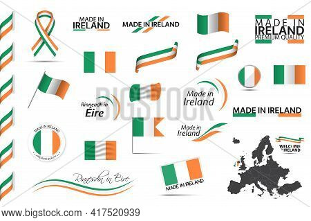Big Vector Set Of Irish Ribbons, Symbols, Icons And Flags Isolated On A White Background. Made In Ir