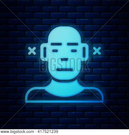 Glowing Neon Deafness Icon Isolated On Brick Wall Background. Deaf Symbol. Hearing Impairment. Vecto