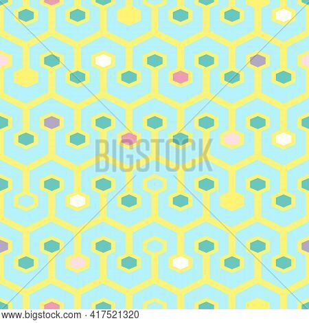 Vector Seamless Pattern With Geometric Tracery Of Colorful Hexagons. For Decoration, Invitation, Fab