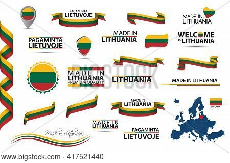 Big Vector Set Of Lithuanian Ribbons, Symbols, Icons And Flags Isolated On A White Background. Made