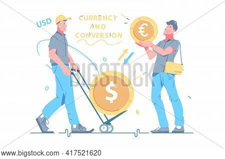 Man Busy With Currency Conversion Process Vector Illustration. Coins With Symbols Of Currency Flat S