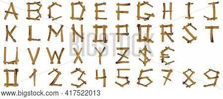 Cinnamon Font Set. Alphabet Letters Abcdefghijklmnopqrstuvwxyz And Digits 1234567890 Set From Pieces