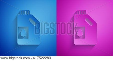 Paper Cut Canister For Motor Machine Oil Icon Isolated On Blue And Purple Background. Oil Gallon. Oi
