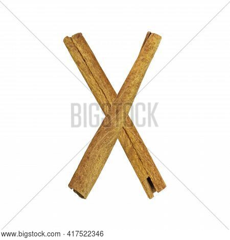 Cinnamon Font. Letter X Is Made From Pieces Of Cinnamon On White Isolated. Alphabet Letters Font Set