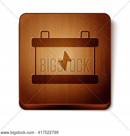 Brown Car Battery Icon Isolated On White Background. Accumulator Battery Energy Power And Electricit