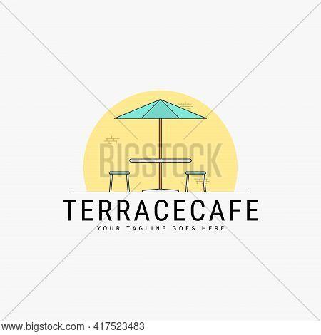 Terrace Cafe Logo Vector Illustration Design. Cafe Logo Concept