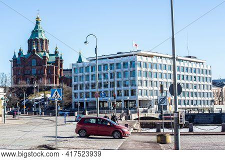 Helsinki, Finland - March 11, 2017: View Of Uspenski Orthodox Church In Helsinki City Center On A Su