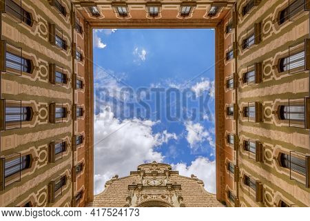 View From The Courtyard Of Basilica In The Benedictine Abbey Of Montserrat (santa Maria De Montserra