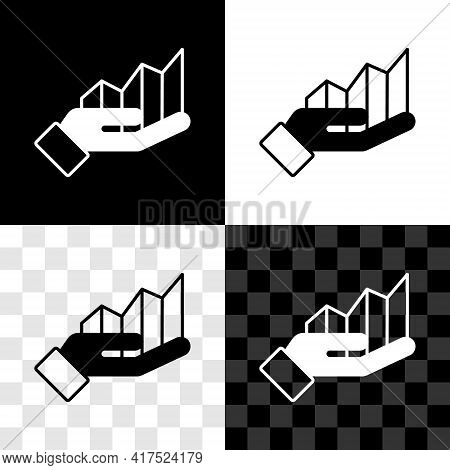 Set Pie Chart Infographic Icon Isolated On Black And White, Transparent Background. Diagram Chart Si