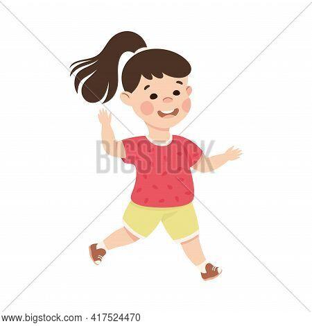 Adorable Running Brunette Girl, Happy Preschool Kid Having Fun On Isolated White Background Vector I