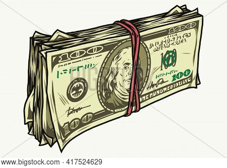 Stack Of One Hundred Us Dollars In Vintage Style On White Background Isolated Vector Illustration