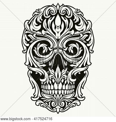 Elegant Skull Of Traceries On Dollar Bill In Vintage Monochrome Style Isolated Vector Illustration
