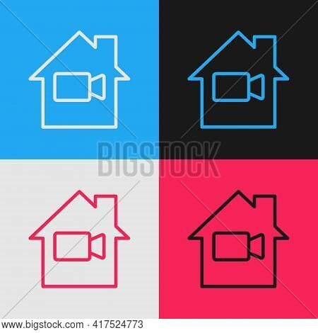 Pop Art Line Video Camera Off In Home Icon Isolated On Color Background. No Video. Vector