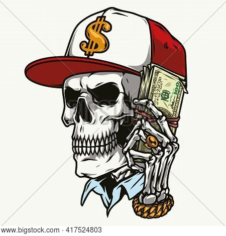 Money Vintage Colorful Concept With Skull In Baseball Cap And Skeleton Hand With Precious Decoration