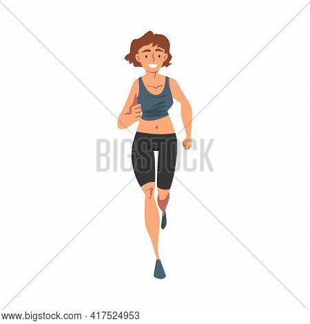 Front View Of Cheerful Running Woman, Female Athlete In Sports Uniform Running Marathon, Training, J