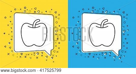 Set Line Apple Icon Isolated On Yellow And Blue Background. Excess Weight. Healthy Diet Menu. Fitnes
