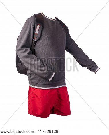 Black Backpack,gray White Sweatshirt,red Shorts Isolated On White Background. Sportswear