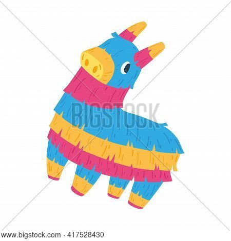 Isolated Donkey Mexican Pinata. Traditional Festival Ornament - Vector