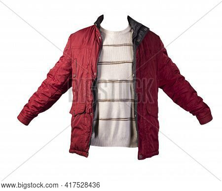 Red Jacket And  Beige Brown Sweater Isolated On White Background.bologna Jacket And Wool Sweater