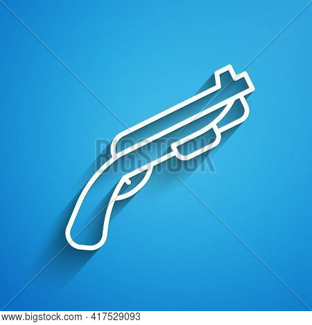 White Line Police Shotgun Icon Isolated On Blue Background. Hunting Shotgun. Long Shadow. Vector