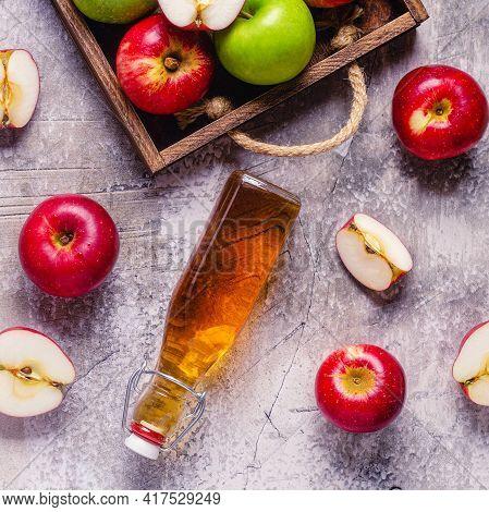 Apple Cider Vinegar Or Fermented Fruit Drink, Top View.