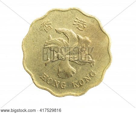 Hong Kong Twenty Cents Coin On White Isolated Background