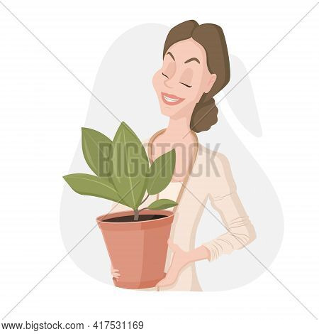 Vector Isolated Illustration On White Background. Cheerful Cartoon Woman With A Bun Of Hair Holds A