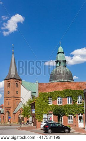 Haren, Germany - May 09, 2020: Tower And Dome Of The Emsland Dom Church In Haren, Germany