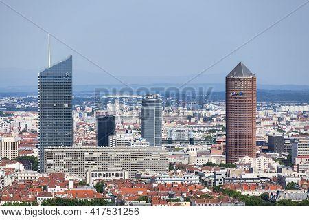 Lyon, France - June 10 2018: The District Of La Part-dieu Is The Central Business District Of Lyon,