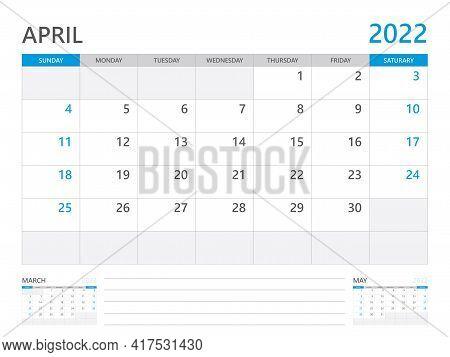 April 2022 Year, Calendar Planner 2022 And Set Of 12 Months,  Week Start On Sunday. Desk Calendar 20