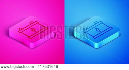 Isometric Line Car Battery Icon Isolated On Pink And Blue Background. Accumulator Battery Energy Pow