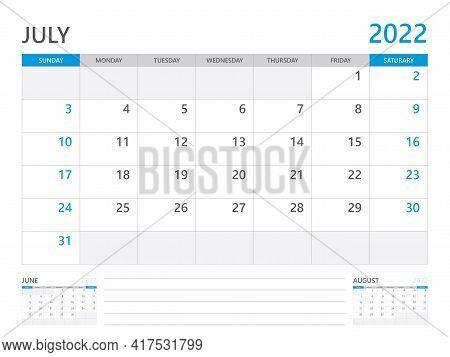 July 2022 Year, Calendar Planner 2022 And Set Of 12 Months,  Week Start On Sunday. Desk Calendar 202