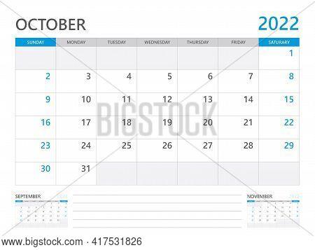 October 2022 Year, Calendar Planner 2022 And Set Of 12 Months,  Week Start On Sunday. Desk Calendar
