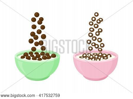 Bowl Of Chocolate Cereal Milk Vector Breakfast. Cartoon Oats, Sweet Flavors. Falling Cornflakes Isol