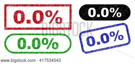 0.0 Percent Grunge Watermarks. Flat Vector Grunge Watermarks With 0.0 Percent Title Inside Different