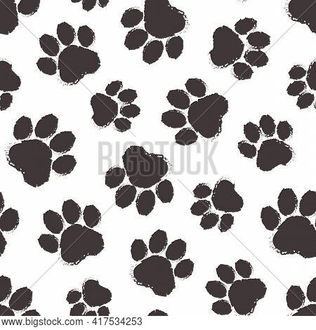 Animal Paw Vector Seamless Pattern, Cartoon Black Silhouette Paws Cat Or Dog Isolated On White Backg