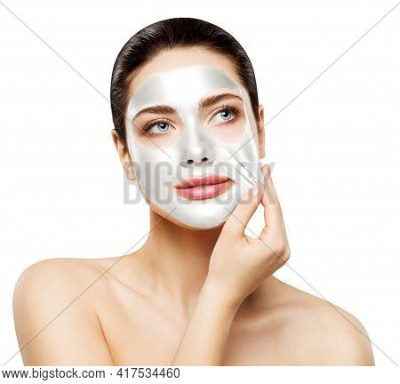Face Peel Off Clay White Mask. Woman Removing Peeling Collagen Facial Spa Treatment. Whitening Care