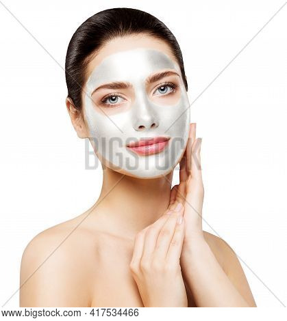 Woman Facial White Clay Mask. Facial Skin Beauty Care. Cosmetic Spa Treatment. Isolated White