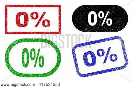 0 Percent Grunge Seals. Flat Vector Grunge Watermarks With 0 Percent Tag Inside Different Rectangle