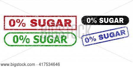 0 Percent Sugar Grunge Seal Stamps. Flat Vector Grunge Seal Stamps With 0 Percent Sugar Text Inside