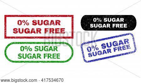 0 Percent Sugar Free Grunge Stamps. Flat Vector Distress Stamps With 0 Percent Sugar Free Message In
