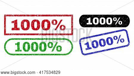 1000 Percent Grunge Seal Stamps. Flat Vector Distress Seal Stamps With 1000 Percent Caption Inside D