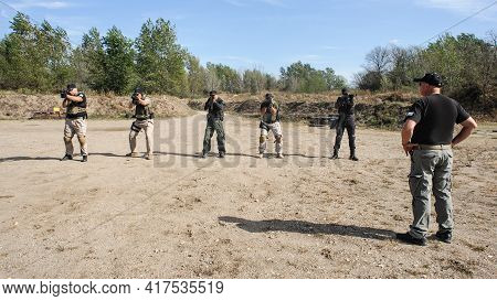 Army Soldiers Detachment During Complex Anti-terrorist Exercises. Shooting And Weapons. Outdoor Shoo