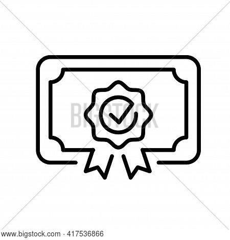 Monochrome Certificate Icon Vector Illustration Achievement, Award Grant Diploma Voucher Education