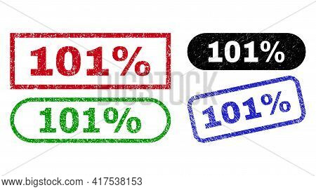101 Percent Grunge Watermarks. Flat Vector Grunge Seals With 101 Percent Phrase Inside Different Rec