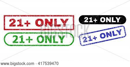 21 Plus Only Grunge Watermarks. Flat Vector Grunge Watermarks With 21 Plus Only Slogan Inside Differ