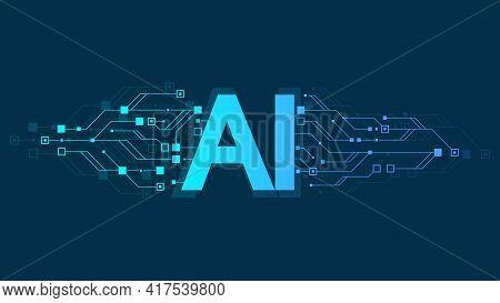 Artificial Intelligence Logo, Icon Symbol Ai, Deep Learning Blockchain Neural Network Concept. Machi