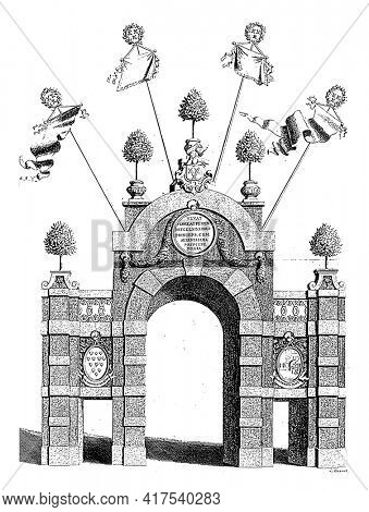 Triumphal gate on the Bosstraat at the entrance of Willem IV in Breda, vintage engraving.