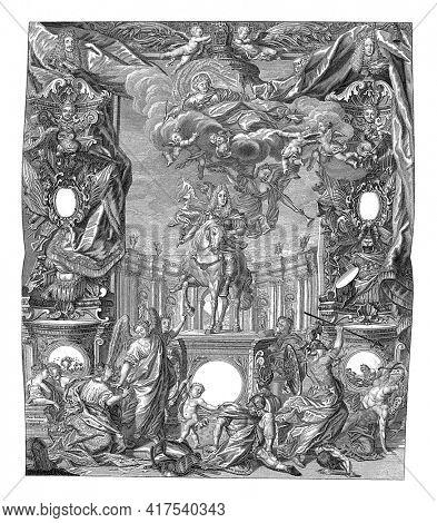 Allegory in honor of Emperor Charles VI at the Peace of Rastatt, 1714, vintage engraving.