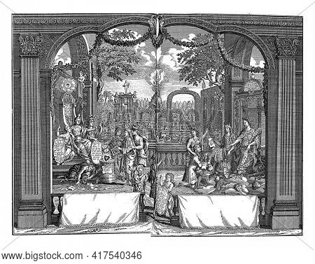 The Sincere and the Greedy Merchant, vintage engraving.